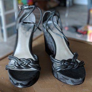 Coach Kinsey Signature Black Wedge Sandals